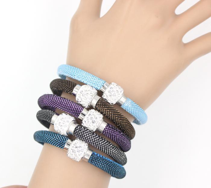 Marca New Tecido Corda Pulseira de Cristal Bead Bracelet Moda Magnetic fecho de jóias Pulseira Pulseira