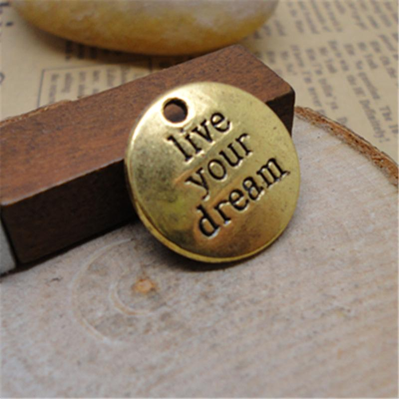 Live Your Dream Charms Wisiorek 19 * 19mm 2 Kolory Silver Bronze SP203
