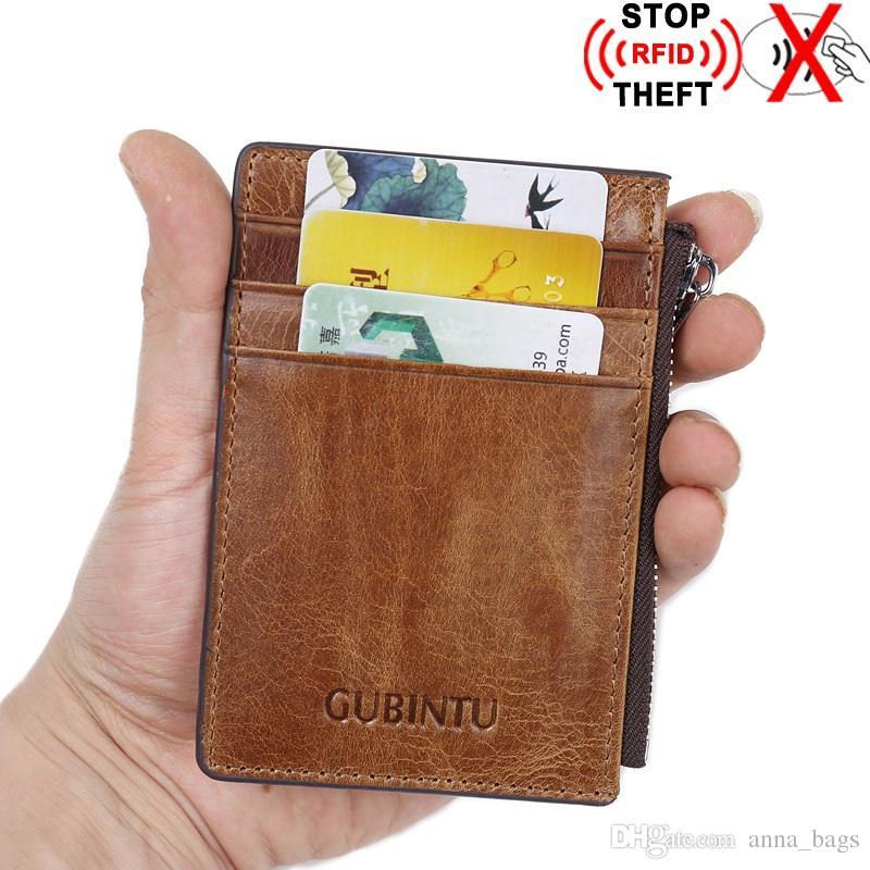 heiße Verkaufsqualität Art und Weise kurzes Geschäft Vintage-Stil Magnetic Anti-Diebstahl-RFID Reißverschluss Mannentwerfers Rind feine Lederbrieftasche