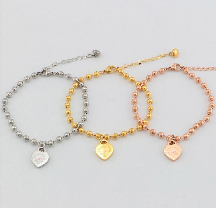 18k rose gold plated Titanium steel bracelet Refill love peach heart bracelet women bracelet
