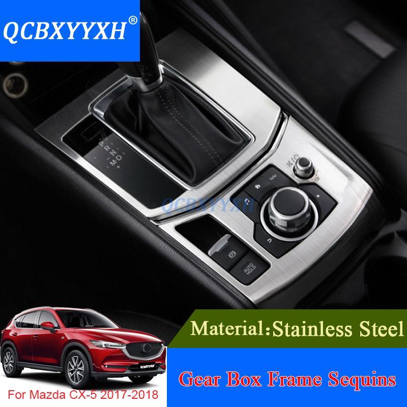 QCBXYYXH 마즈다 CX-5 2017 2018 용 자동차 스타일링 스테인레스 스틸 기어 박스 컵 홀더 보호 커버 내부 액세서리