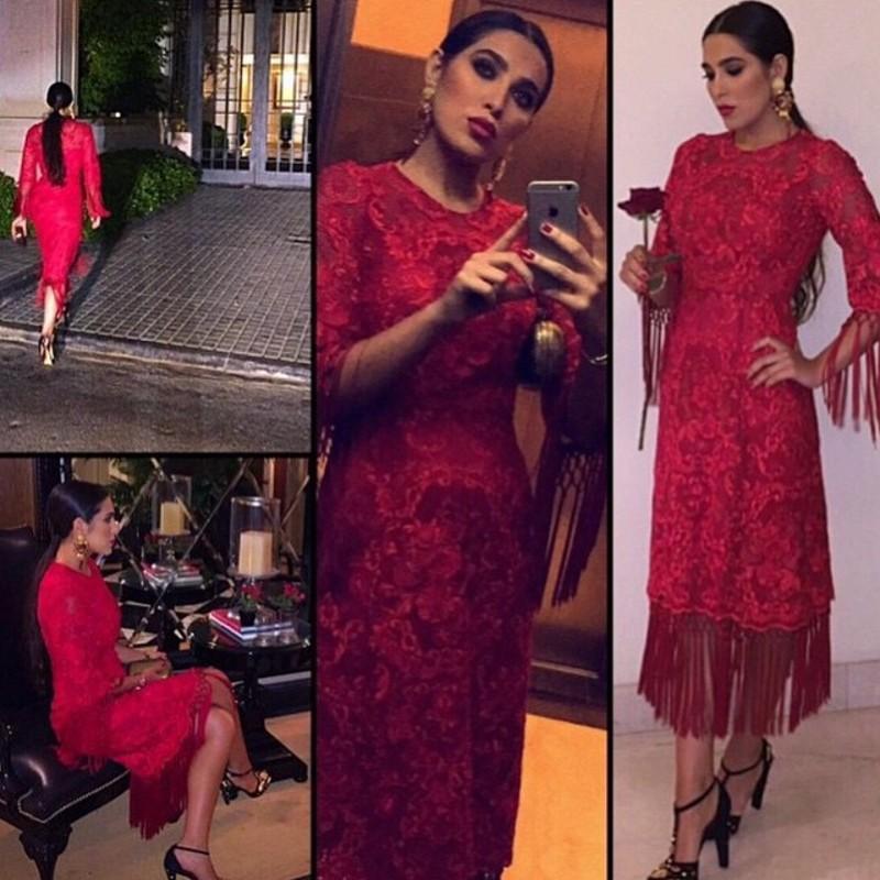 부르고뉴 레이스 술의 이브닝 드레스 2016 사우디 아라비아 크루 넥 반 슬리브 티 길이 의상 가운