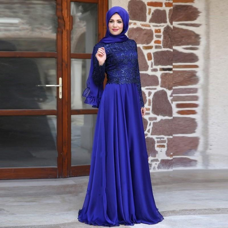Elegant Muslim Evening Dress Lace Dubai Abaya Kaftan Dresses Long ...