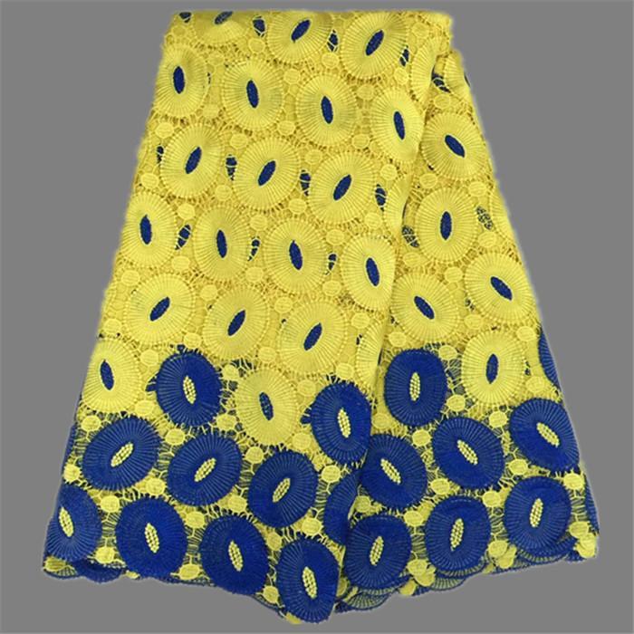 레이디 드레스 EW43 (5yards / lot)에 대한 높은 클래스 컬러 혼합 아프리카 화학 수용성 레이스 패브릭 패션 코드 레이스 헝겊