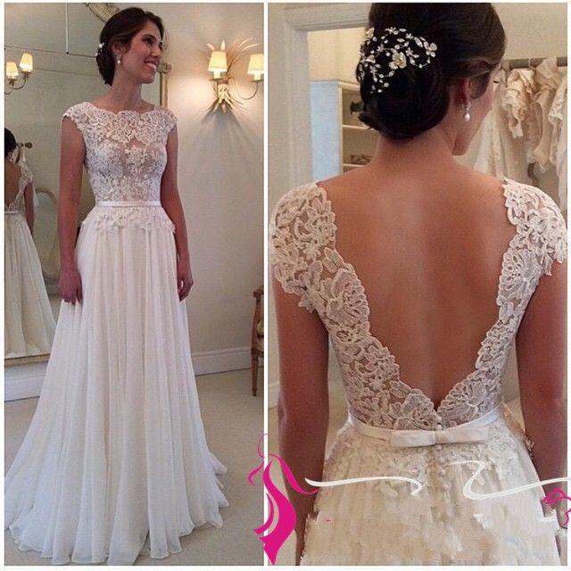 Beach Wedding Dress Simple A Line Lace Bodice Chiffon Skirt Flowy ...