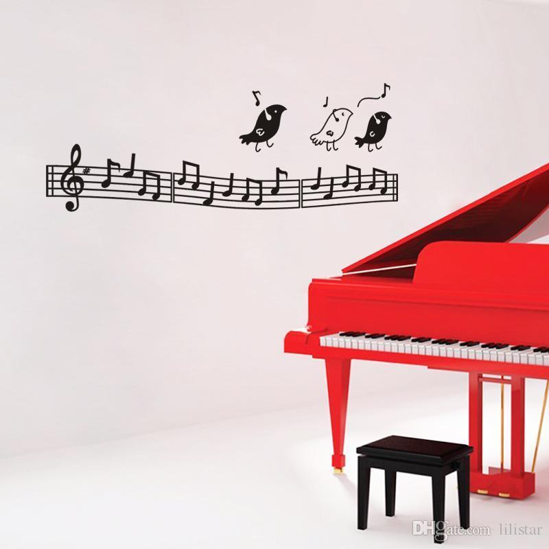 Mode Belle Musique Notes Et Oiseau Chanter Autocollant Mural Pour Enfants Chambre Vinyle Home Decor Wall Decal Amovible Chambre Décoration panio mur