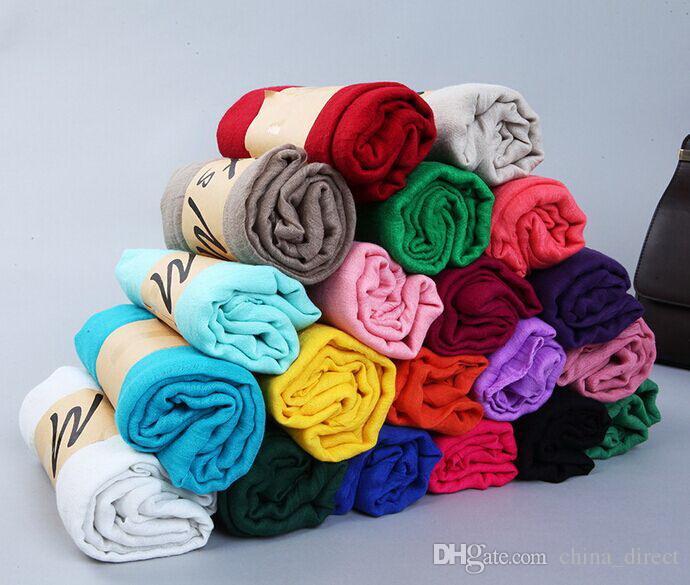 girl women solid plain cotton linen feeling polyster Scarf Scarves Stole Neckerchief 20 colors 180*90cm 11pcs/lot #3982