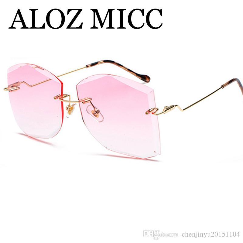 ALOZ MICC Luxo Sem Aro Óculos De Sol Das Mulheres de Metal Do Vintage Big Quadro Senhora Óculos de Sol Moda Marinha Lente Óculos A412