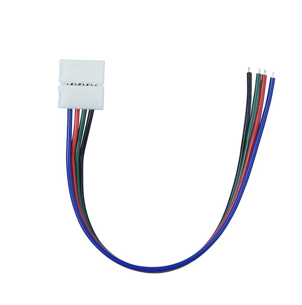 Best 10mm 4pin Rgb Led Strip Connector Wire Clip Cable For 5050 4 Pin Wiring Ribbon Tape