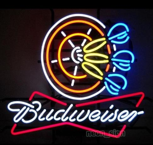 """NEW BUDWEISER Neon Sign Real Glass Tube Sign Beer Bar PUB Neon Light Signs Store Display Advertisement Sign 17""""X14"""""""