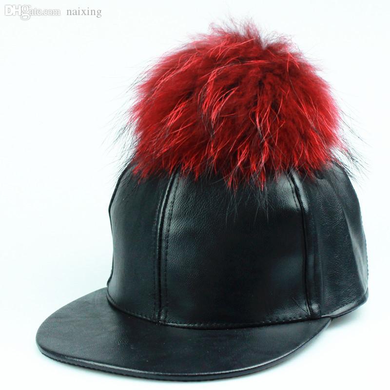 도매 패션 PU 가죽 야구 모자 울 진짜 밍크 할머니는 도매 여성을위한 힙합 모자 모자 뼈 스냅 백 겨울 모자