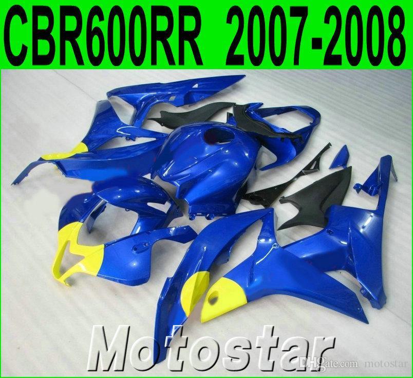 Injection molding popular bodykits for HONDA CBR600RR 07 08 fairings CBR 600RR F5 2007 2008 yellow blue plastic fairing kit KQ60