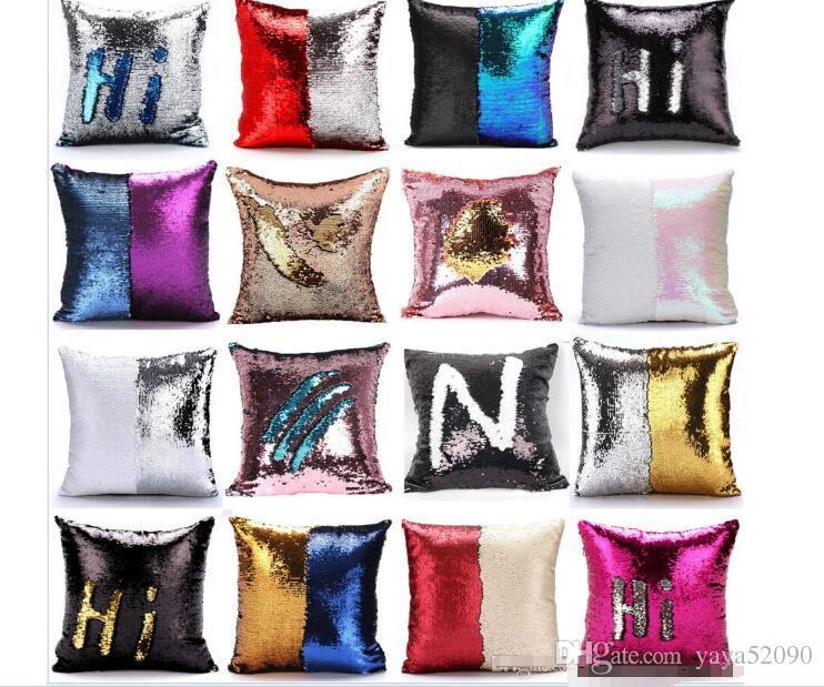 Lantejoula fronha capa de Sereia Fronha Glitter Reversível Sofá Magia Dupla Reversível Swipe capa de Almofada Home Decorativa 38 design