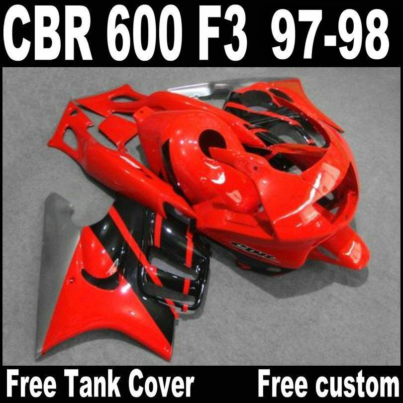 carenados de alta calidad establecidos para HONDA CBR600 F3 1997 bodykits negro plata rojo 1998 CBR 600 97 98 carenado kit QY2