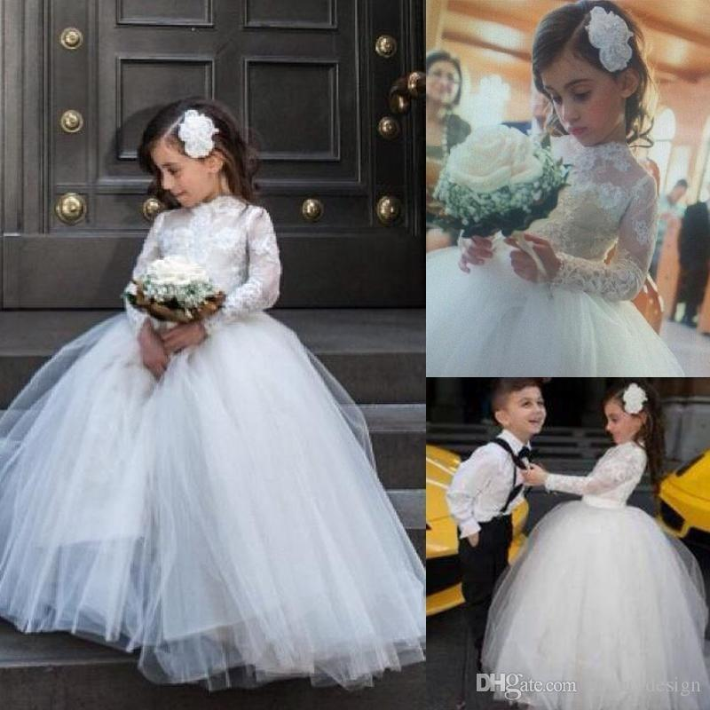 Princess 2017 Little Flower Girl Wedding Dresses with Sheer Lace Long Sleeve High Neck Pageant Gowns White First Communion Dress