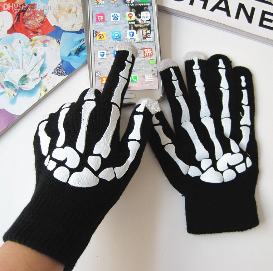 Vente en gros-2019 automne et hiver hommes et femmes tricoté gants chauds Halloween Fête de vacances fantôme OS cosplay gants en gros S312