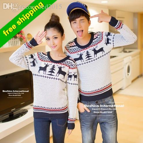 Wholesale-High Quality fashion winter men women long sleeve crewnecks cashmere pullovers matching deer couple christmas