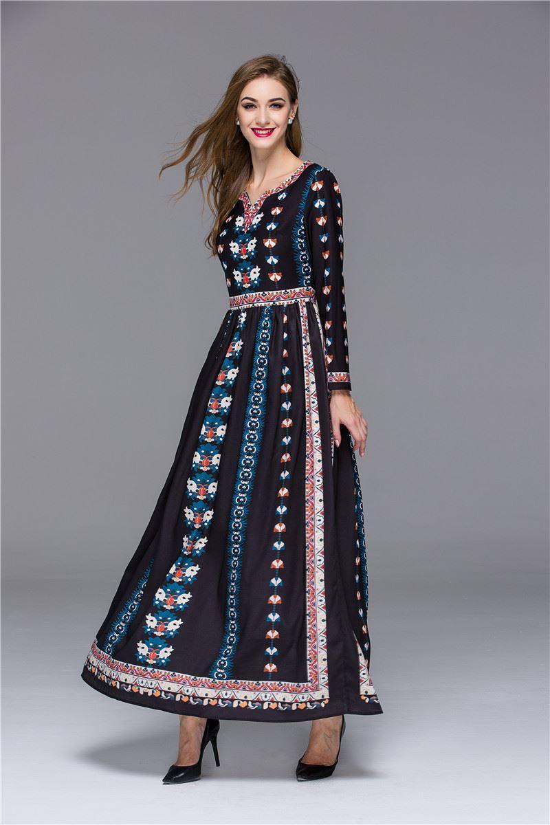 Long sleeve 70s dress attire