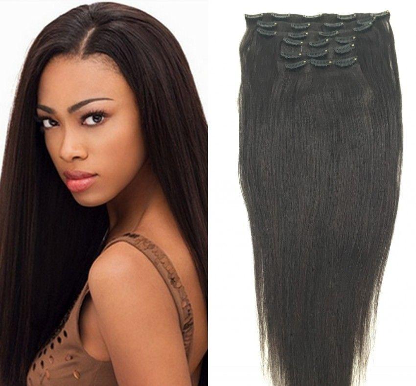 Grampos humanos brasileiros em extensões de cabelo luz reta yaki trama do cabelo preto natural preto cor 120g um pacote de 7 peças de um conjunto