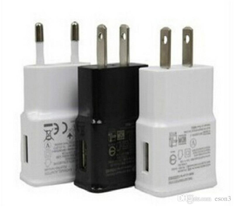 Samsung Galaxy Note 5 S7 S6 Kenar Artı beyaz siyah renk için Samsung USB Duvar Şarj 5V 2A AC Seyahat Ev Şarj Adaptörü ABD, AB Tak İçin