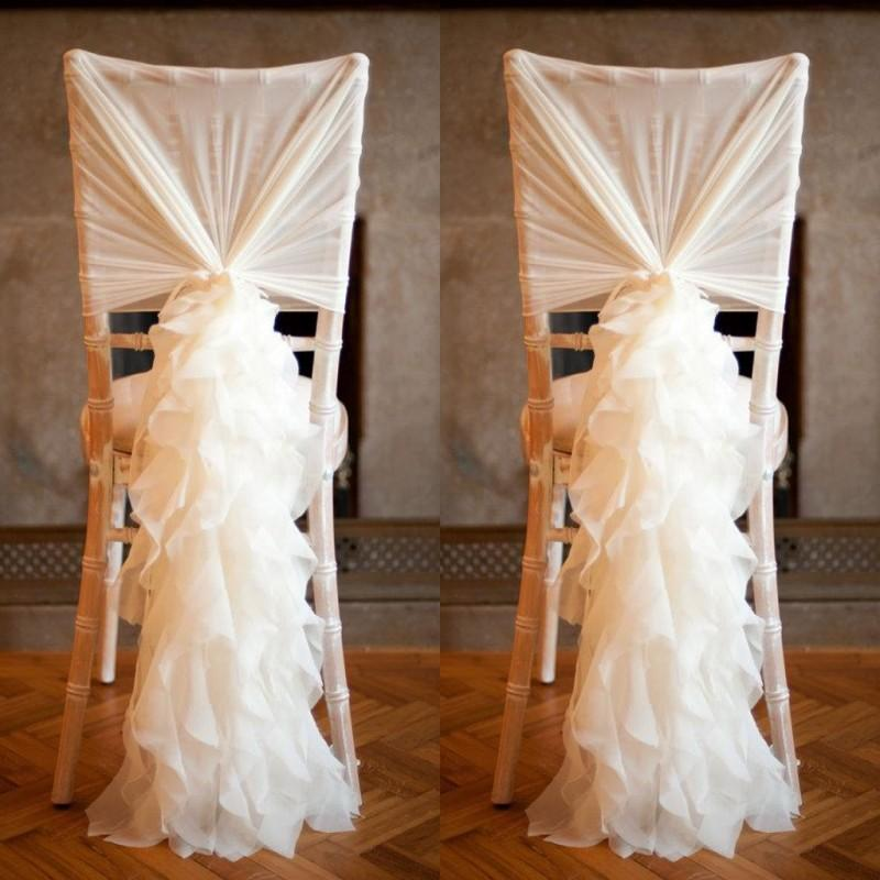 Fashion Chair Sash with 3D Chiffon Delicate Wedding Decorations Bamboo Chair Covers Wedding Accessories Free Shipping