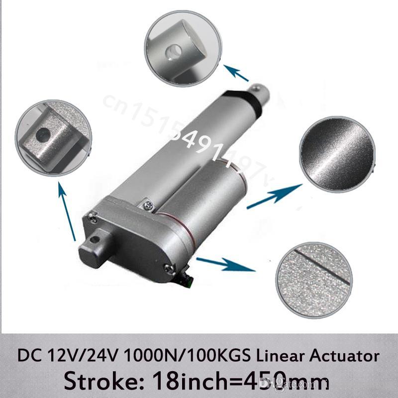 DC 12 V / 24 V 18 inç / 450mm elektrikli lineer aktüatör, 1000N / 100kgs yük 10mm / sn hız doğrusal aktüatörler montaj braketleri olmadan
