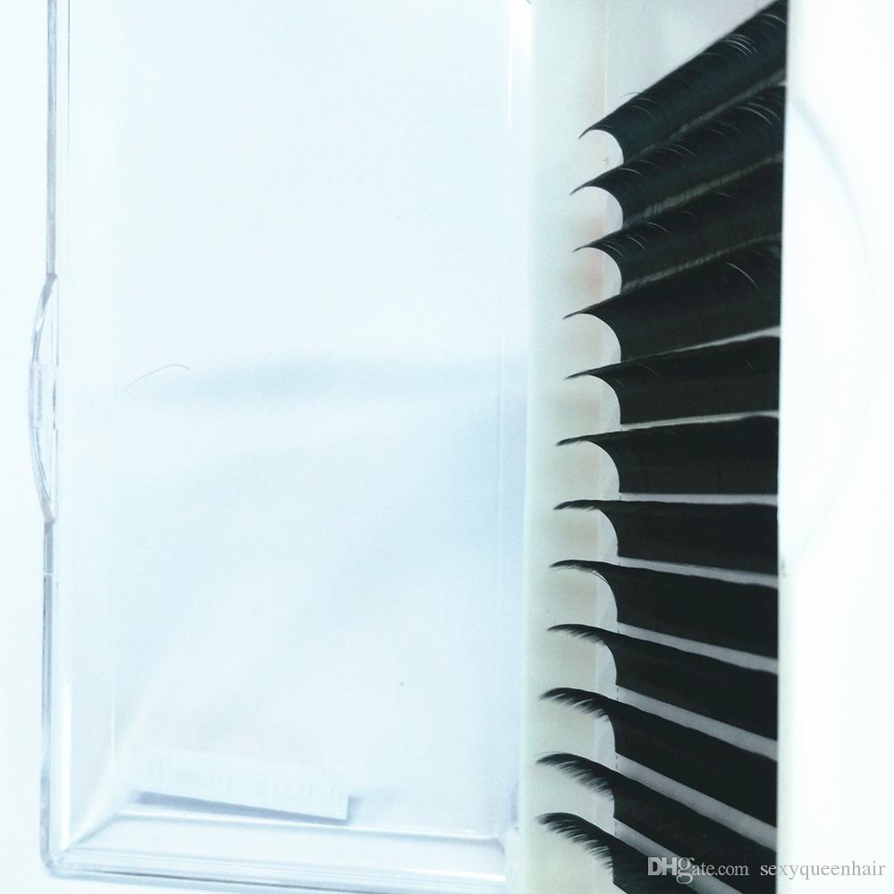 8-15mm 12Lines / Plateau Russie 3D Cils Extension De Cils Volume En Soie Naturel Long Cils Individuels Cheveux Synthétiques