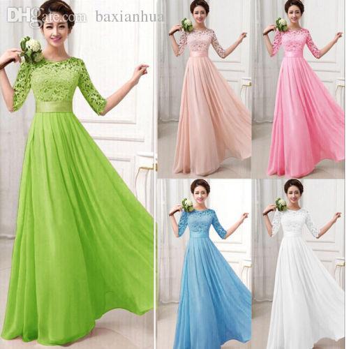 도매 - 새로운 여성 하프 슬리브 레이스 쉬폰 프린세스 A 라인 드레스 캔디 컬러 우아한 드레스 맥시 롱 드레스 Vestidos