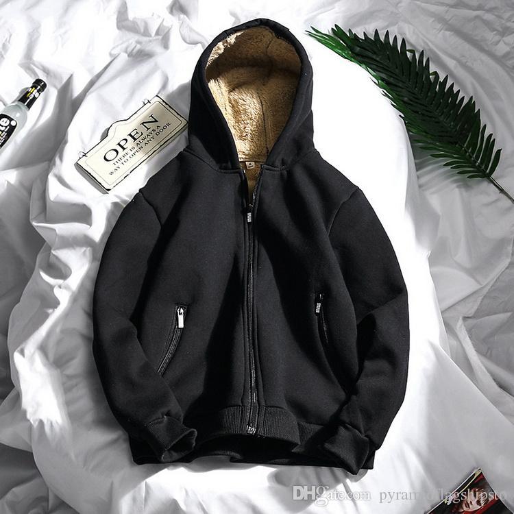 Mit Wolle Dicke Reißverschluss Herren Mens Fleece Großhandel Von Thicken Coat Warme Innen Winter Jacke Kapuze Kapuzenjacke CerBoQdWxE