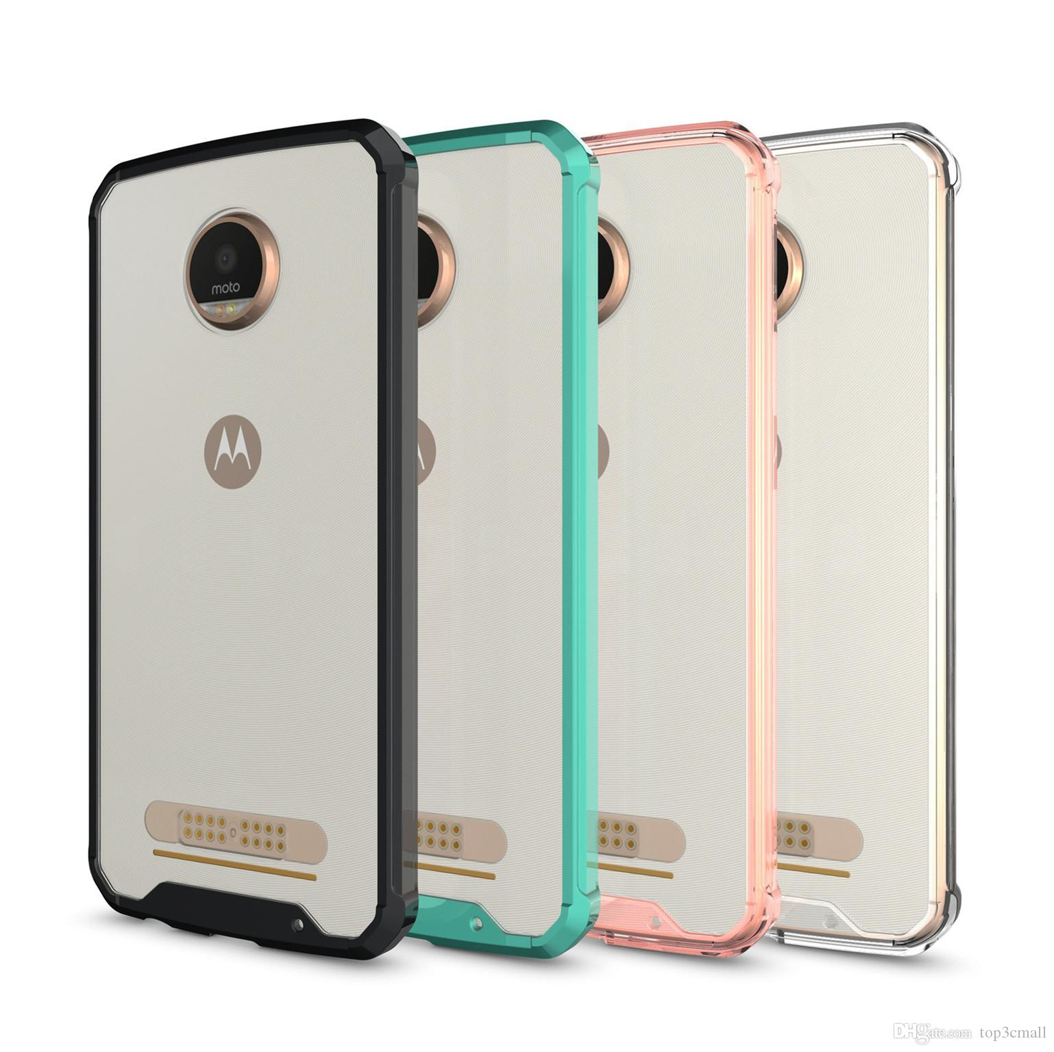 finest selection 864d4 c8cca For Motorola MOTO Z2 Play Armor Case Transparent Clear Hybrid Bumper  Shockproof Back Cover Accessories Designer Phone Cases Best Phone Cases  From ...