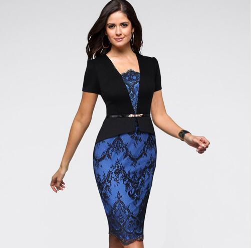 Lcw New Fashion Womens New Elegant Belted Colorblock Floral Lace Tunic Wear To Work Business Casual Party Pencil Dress
