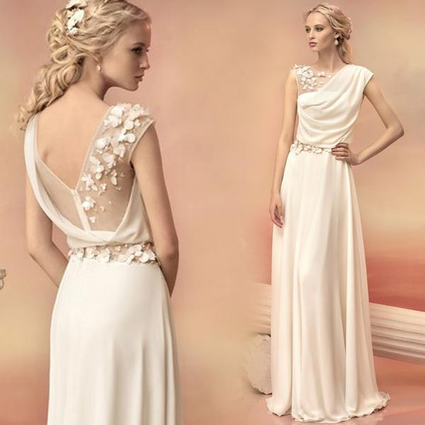 2015 White Bridesmaids Dresses with Sheer Back Floor Length Chiffon Flowers Wedding Party Dresses Prom Gowns TS002