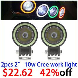 2x 2 10W Round Led Work Light White Red Yellow Blue Green Angle Eye DRL Led Driving Light Offroad Off Road Lamp 4x4 4WD 12V 24V