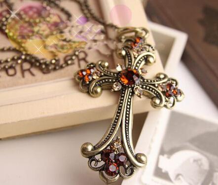 Mode smycken Kvinnors halsband återställer gamla sätt kors halsband trend