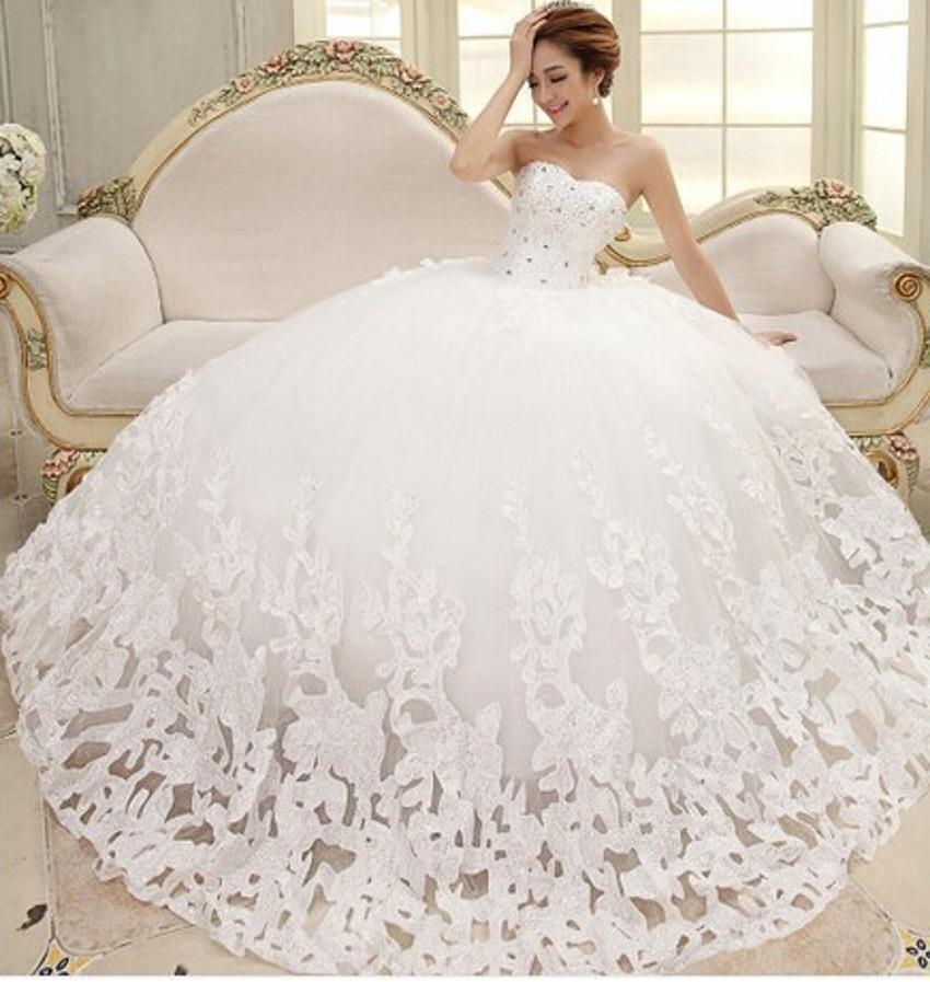 2015 New Arrivals Fantastic Beatiful Sleeveless Elegant Sweet Princess Appliques Beads Lace up Wrapped Chest Ball Gown Wedding Dresses hot
