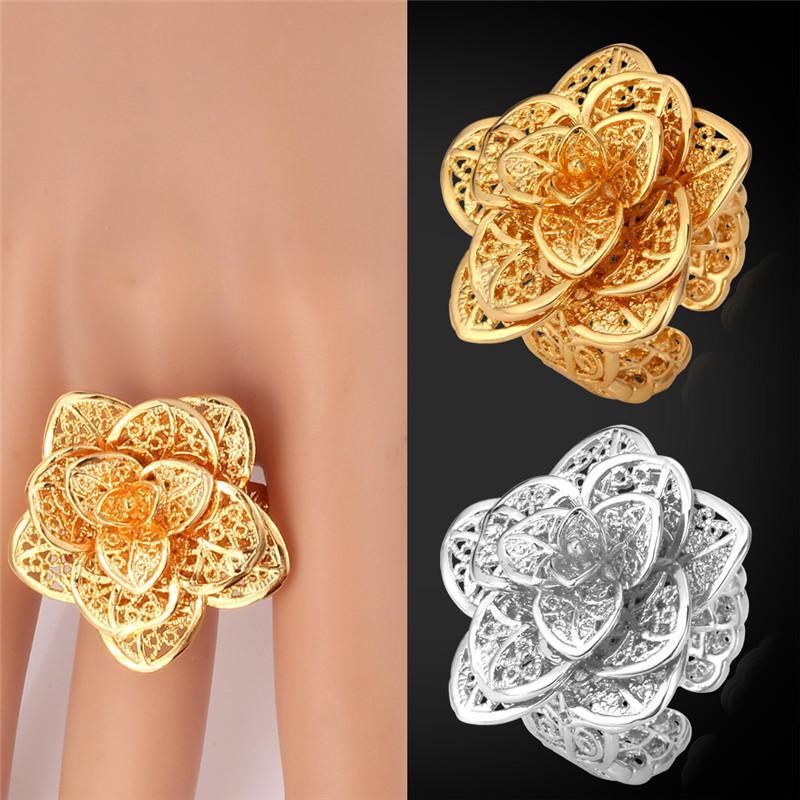 Kadınlar için çiçek Yüzükler 18 K Gerçek Altın / Platin Kaplama Hediye Kutusu ile 2015 Moda Takı Ücretsiz Kargo Yüksek Kalite Yüzük R101