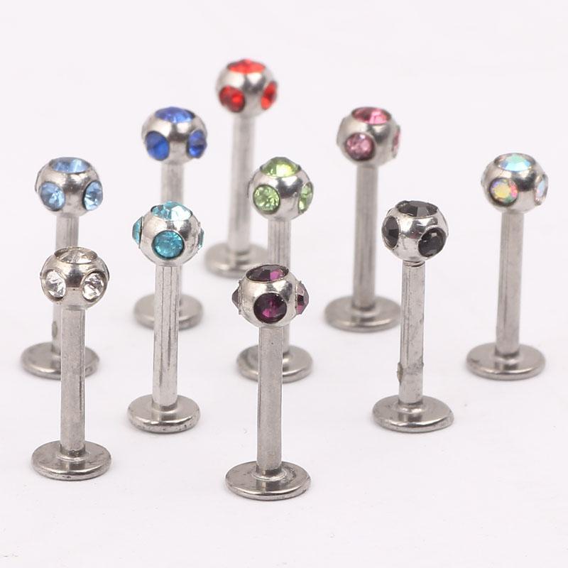 Lip stud L12 mix 10 color 100pcs steel body jewelry lip piercing labret ring