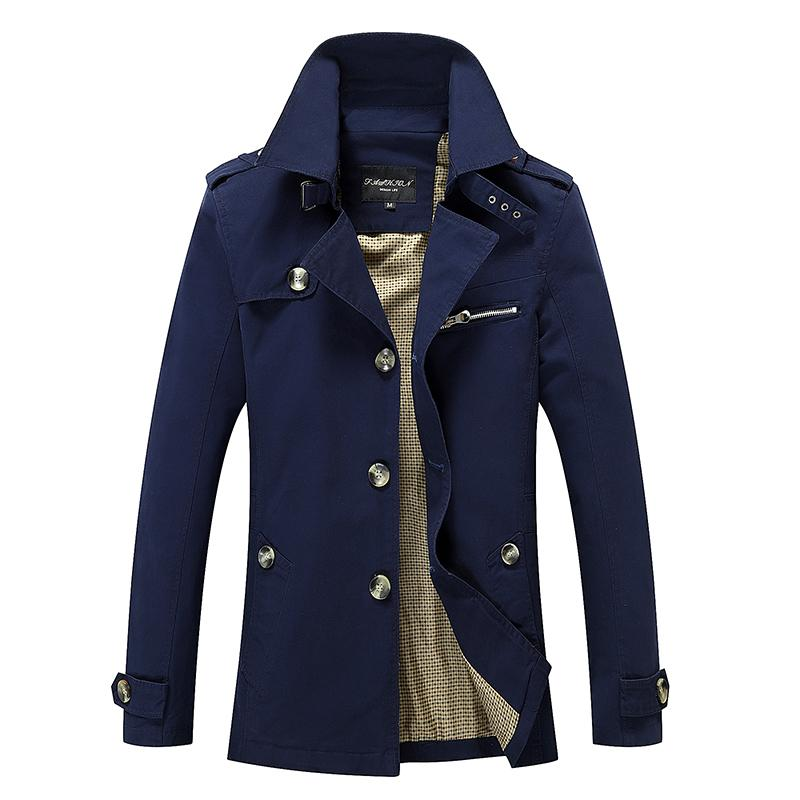 Al por mayor-Hombres Trench Coats 2017 Nueva llegada de negocios Estilo Europeo Slim Fit Alta calidad Wind Coat Otoño Mens Trench Army Jackets 5XL