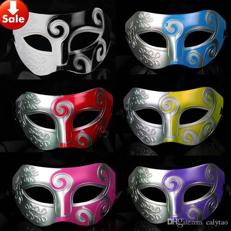 Halloween Maskerade Masken Roman Gladiator Jazz Herrenmaske Half Face Venezianische Tanzparty Requisiten 16 Farben