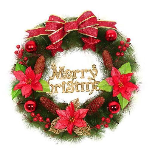 Pine Needle Wreath 50cm Gold Red Color Christmas Garland Pvc Chrismas Decoration Christmas Tree Decorationsdecoracao De Natal Discount Christmas