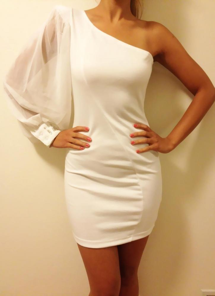 Оболочка короткие коктейльные платья с длинным рукавом шифон одно плечо Vestido де феста белые платья партии 2015