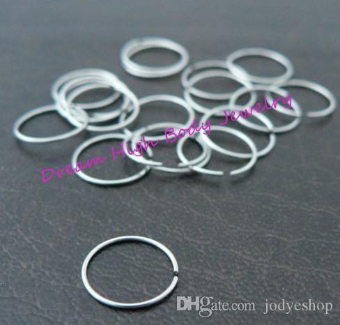 Steel Hoop Nose Ring Earring Ear Clip Cuff Stud Body Piercing Jewelry 316L Stainless Steel 18G 20g 22G hot Sale Choose Size Unisex Fake Lip