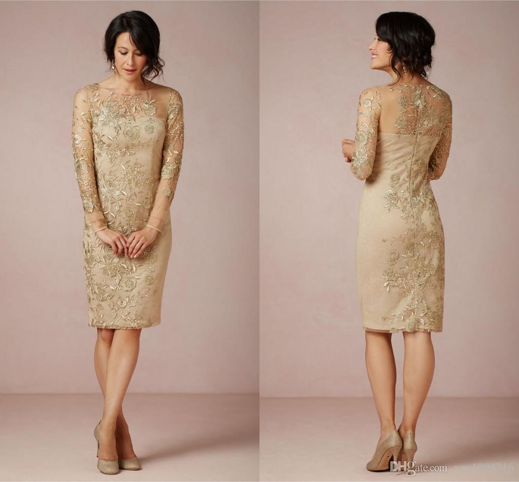 Sheath Gold Embroidery Mother Of The Bride Dresses Appliques Illusion Neck  Knee Length Formal Dresses Plus Size Charming Evening Dress 2015 Mother Of