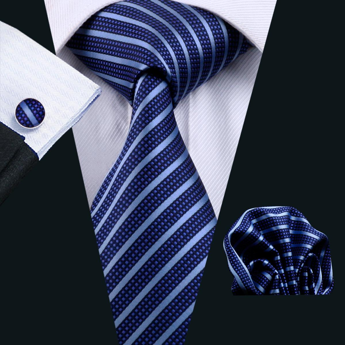 Blue Stripe Neck Tie Set Mens Silk Tie Hanky Cufflinks Jacquard Woven Formal Work Meeting Leisure N-0337