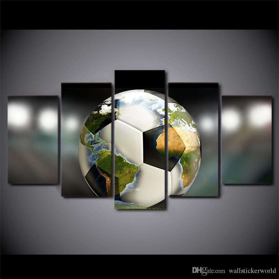 5 Piece HD Prints Canvas Wall Art Pictures Soccer Football World Map Living Room Home Decor Framework Paintings Posters