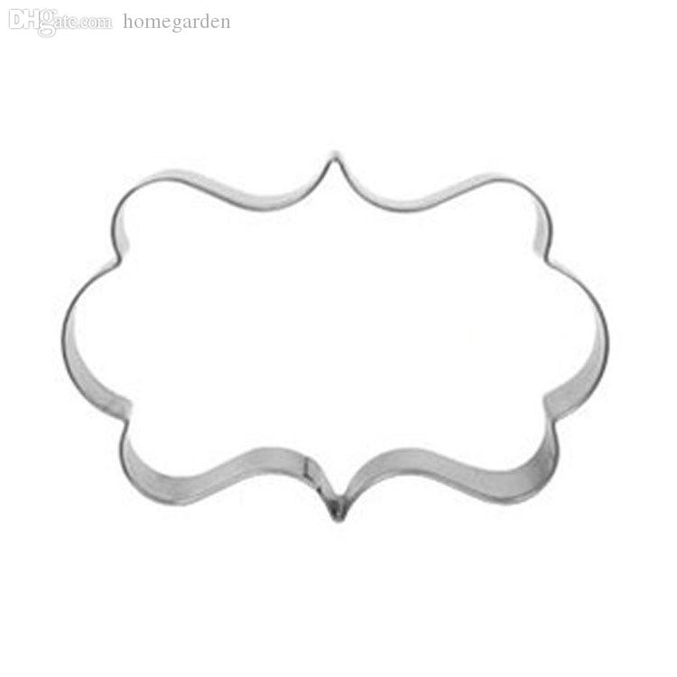 Wholesale-Stainless Steel Cookie Cutters In European Style Pattern Frame Oval Picture Frame Wreath Cake Cutter chocolate Moudle HG-1651