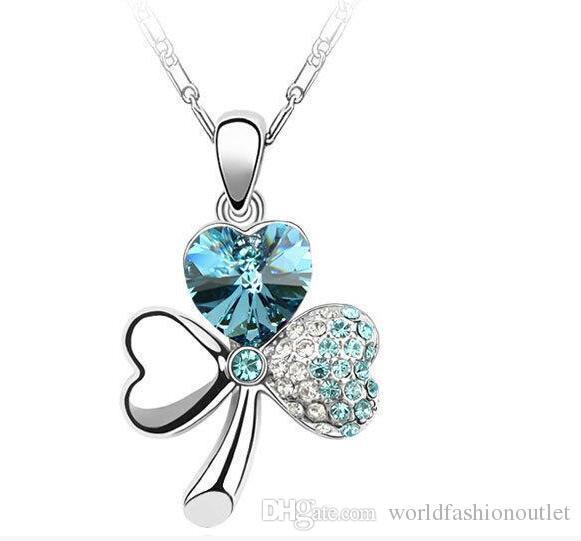 Nova 925 sterling silver pingente colares trevo de três folhas amantes presente de cristal strass trevo de quatro folhas amor coração pingentes multi cores