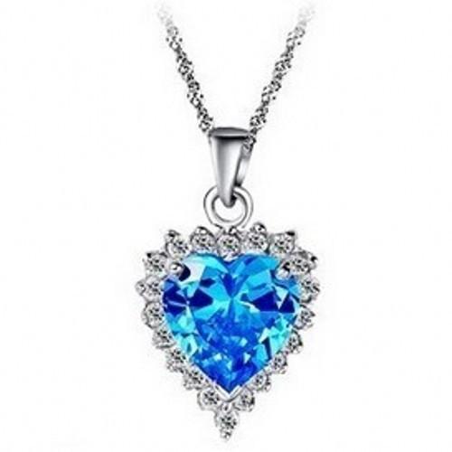 011 Coração do Oceano Senhora 925 Sterling Silver Aquamarine CZ Diamonique Pingente