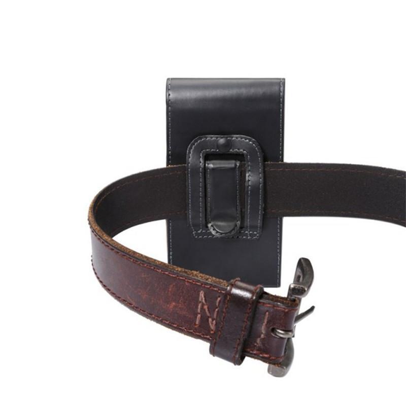 """1PCS nero di colore di modo della cinghia di cuoio unità di elaborazione della clip pelle della Cover Custodia per Huawei Honor 4X (5.5"""" )"""