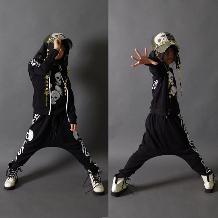 Novo 2016 Primavera Outono Roupas Infantil Conjunto de Prata Crânio Imprimir Traje Kids Sport Ternos Patchwork Hip Hop Dança Calça Suéter SMP111